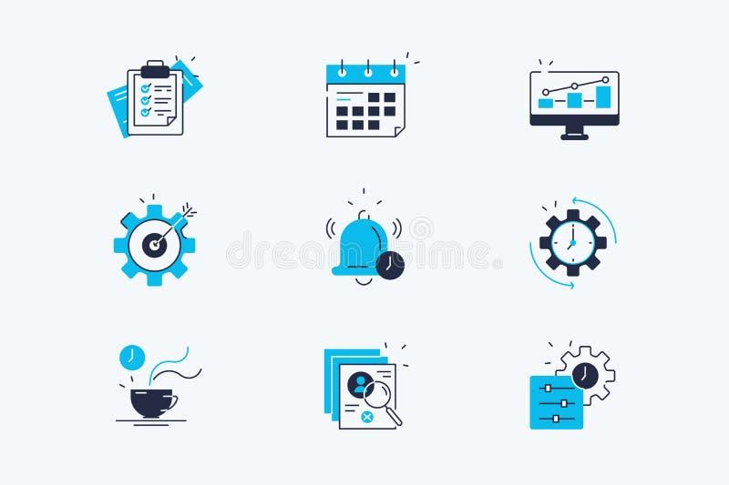 L?nea iconos de la productividad fijados stock de ilustración