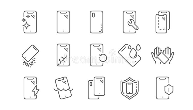 L?nea iconos de la protecci?n de Smartphone Vidrio, protector de la pantalla y resistente de agua moderados Sistema linear Vector ilustración del vector