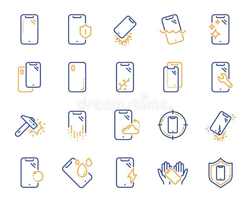 L?nea iconos de la protecci?n de Smartphone Vidrio, protector de la pantalla y resistente de agua moderados Vector libre illustration