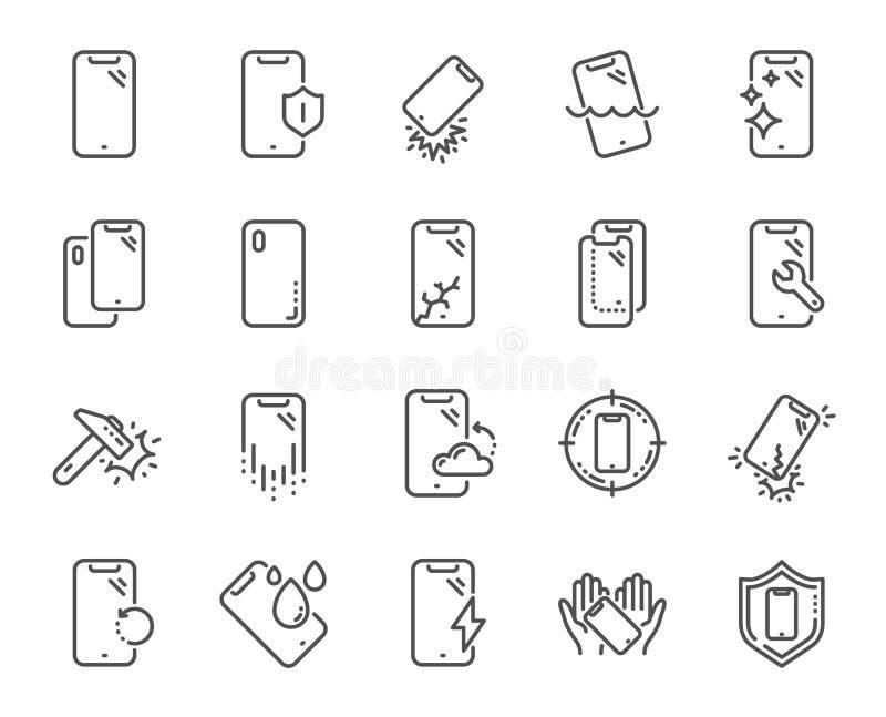 L?nea iconos de la protecci?n de Smartphone Vidrio, protector de la pantalla y resistente de agua moderados Vector stock de ilustración