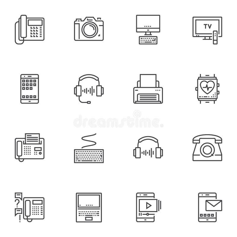 L?nea iconos de los dispositivos electr?nicos fijados ilustración del vector