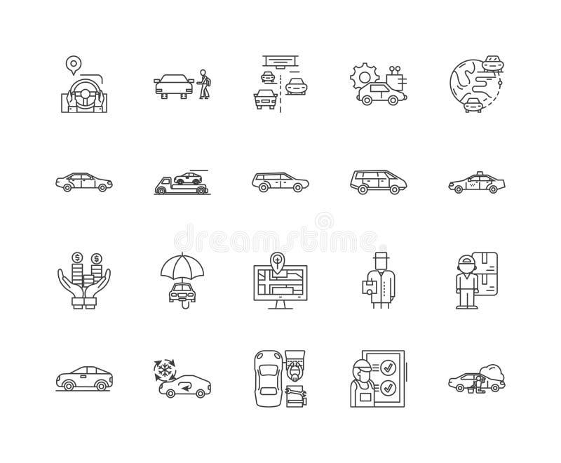 L?nea iconos, muestras, sistema del vector, concepto del concesionario de autom?viles del ejemplo del esquema stock de ilustración