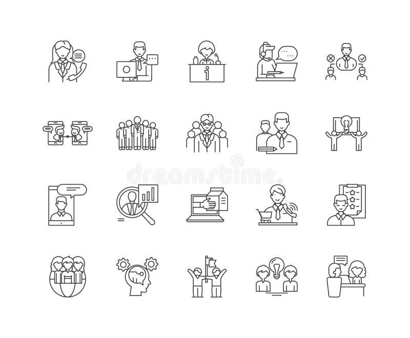 L?nea iconos, muestras, sistema del vector, concepto de Councelling del ejemplo del esquema ilustración del vector