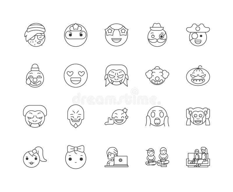 L?nea iconos, muestras, sistema del vector, concepto de la historieta del ejemplo del esquema stock de ilustración