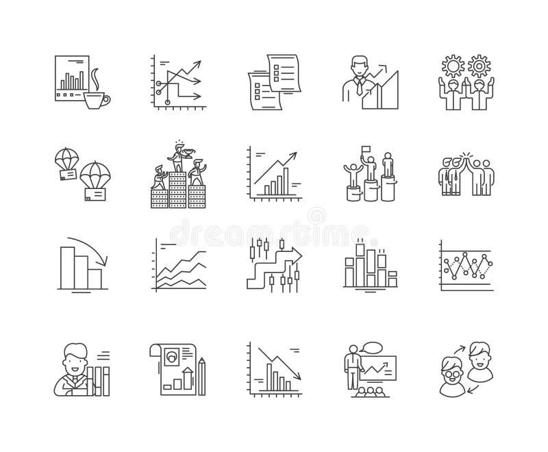 L?nea iconos, muestras, sistema del vector, concepto del an?lisis competitivo del ejemplo del esquema stock de ilustración