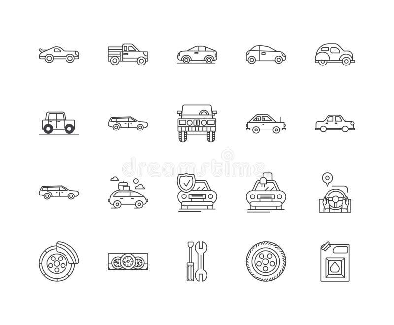 L?nea iconos, muestras, sistema del vector, concepto del taller mec?nico del ejemplo del esquema stock de ilustración
