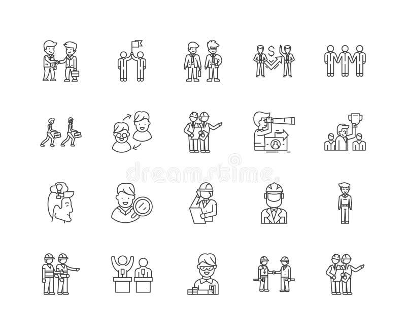 L?nea iconos, muestras, sistema del vector, concepto del testigo experto del ejemplo del esquema ilustración del vector