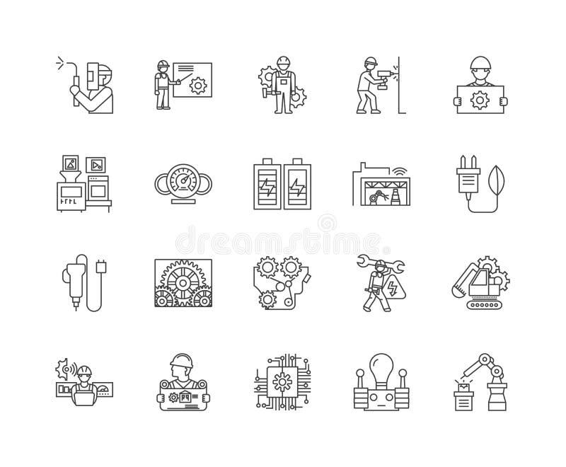L?nea industrial el?ctrica iconos, muestras, sistema del vector, concepto del aparato del ejemplo del esquema ilustración del vector