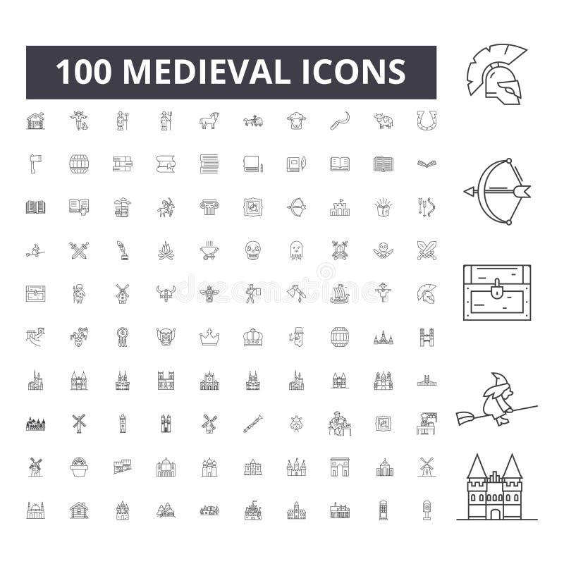 L?nea medieval iconos, muestras, sistema del vector, concepto del ejemplo del esquema stock de ilustración