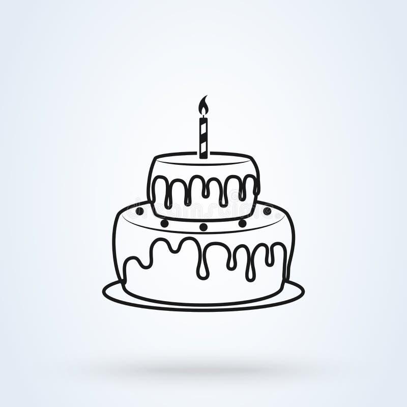 L?nea plana arte del estilo de la torta de cumplea?os Icono aislado en el fondo blanco Ilustraci?n del vector stock de ilustración