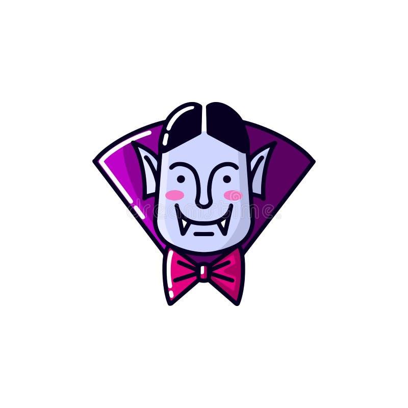 L?nea plana estilo del vampiro de Dr?cula del car?cter de Halloween El ejemplo del vector del icono del vampiro del hombre aisl? stock de ilustración