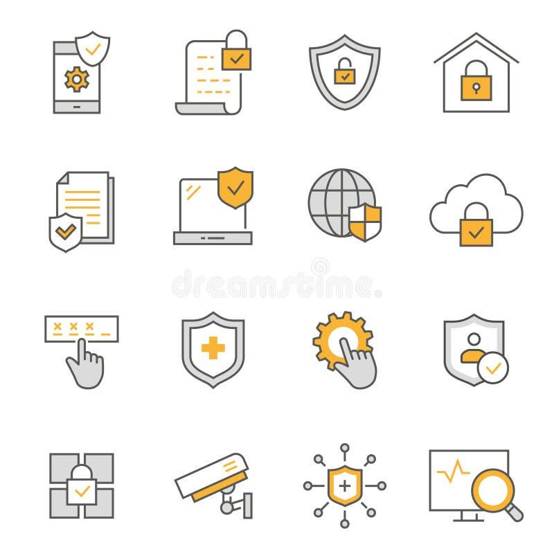 L?nea plana sistema de la seguridad del icono Ilustraci?n del vector Movimiento Editable libre illustration