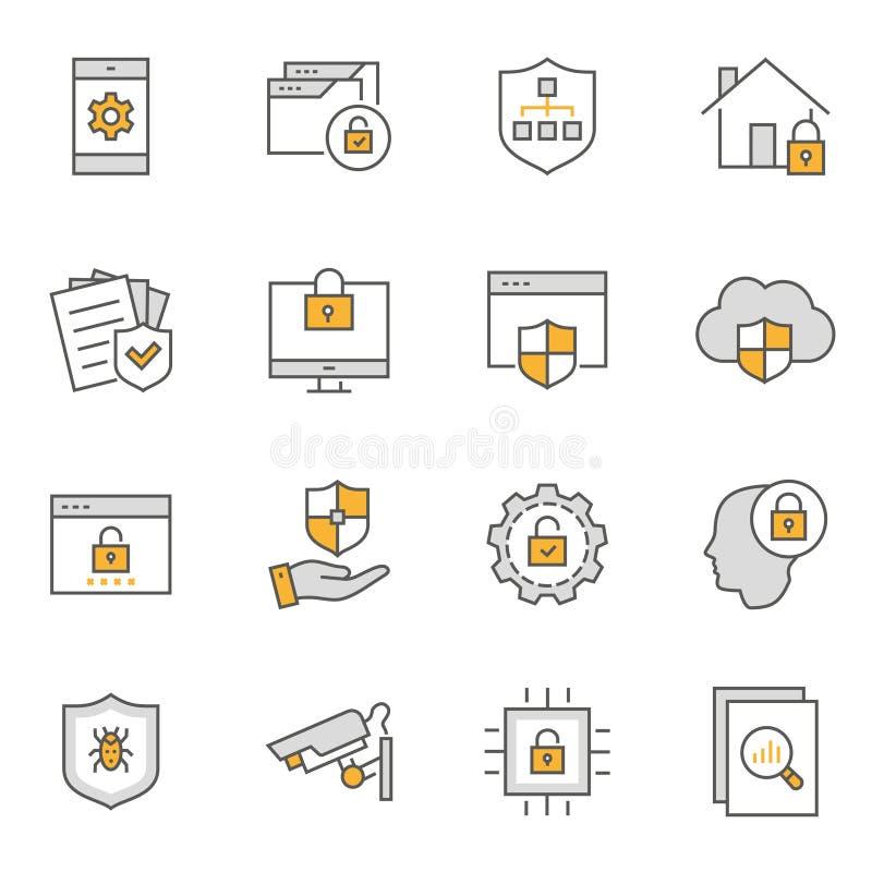 L?nea plana sistema de la seguridad del icono Ilustraci?n del vector Movimiento Editable ilustración del vector