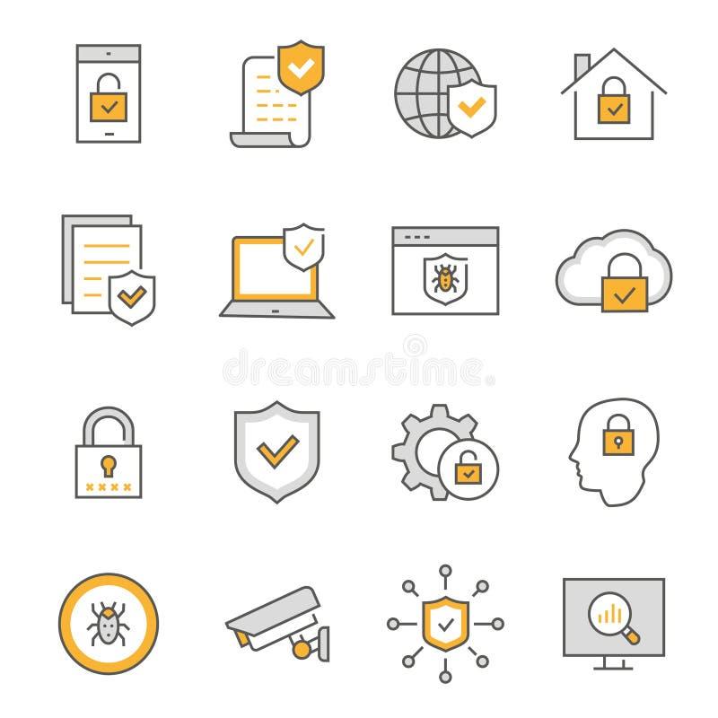 L?nea plana sistema de la seguridad del icono Ilustraci?n del vector Movimiento Editable stock de ilustración