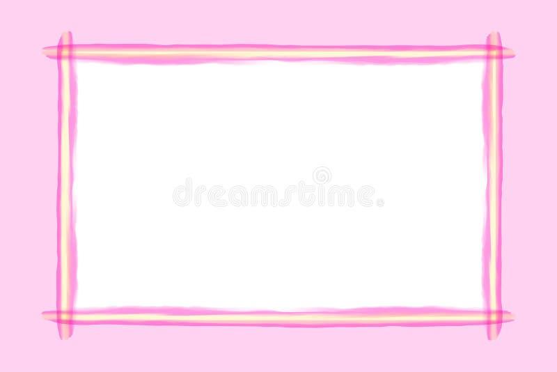 L?nea rosada estilo del arte del marco de la acuarela para el fondo y el espacio de la copia, l?nea rosada marco de la bandera, l stock de ilustración
