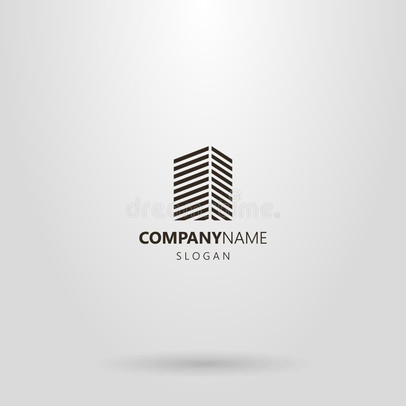 l?nea simple logotipo geom?trico del arte de un edificio alto de l?neas diagonales libre illustration