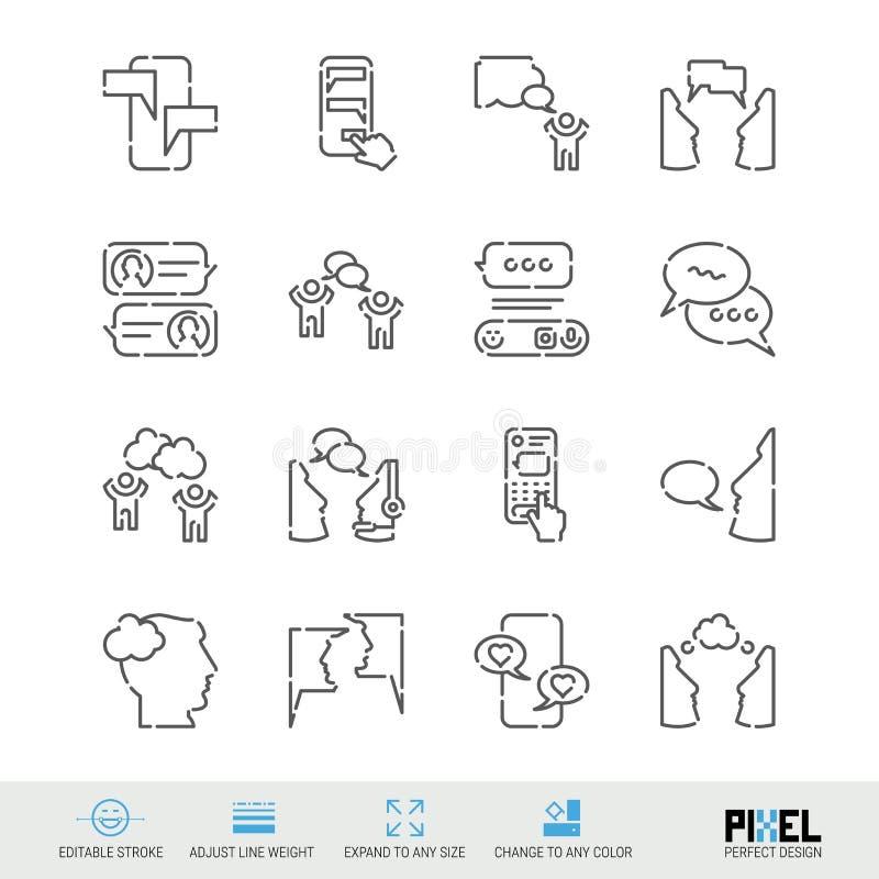 L?nea sistema del vector del icono Iconos lineares relacionados de la comunicaci?n Di?logo, s?mbolos de la charla, pictogramas, m stock de ilustración