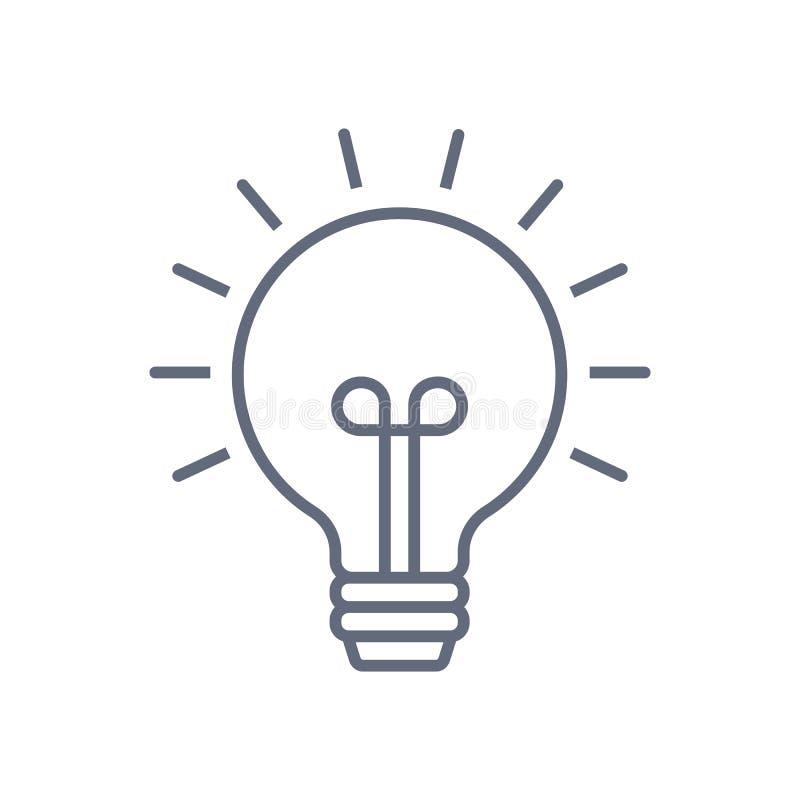 L?nea vector de la bombilla del icono, aislado en el fondo blanco Muestra de la idea, soluci?n, concepto de pensamiento Iluminaci stock de ilustración