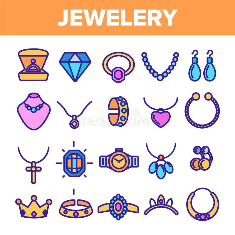L?nea vector de la joyer?a del sistema del icono Diamond Luxury Jewelery Symbol Gem Elegance Sign Ejemplo fino de la web del esqu ilustración del vector