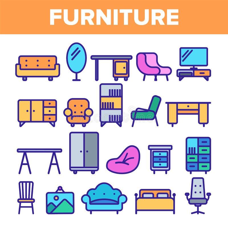 L?nea vector de los muebles del sitio del sistema del icono Dise?o interior del gabinete Elementos de los muebles del sitio caser ilustración del vector