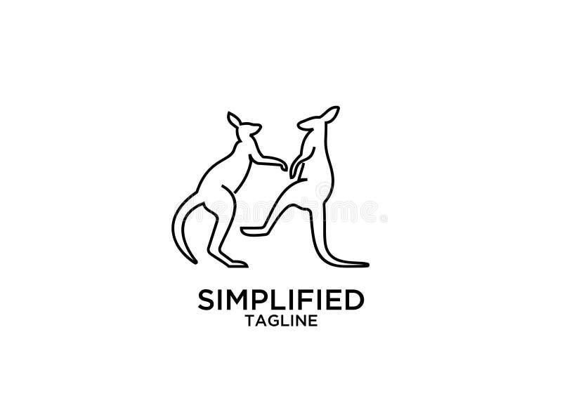 L?nea vector del esquema del canguro de los dise?os del icono del logotipo de la silueta del sistema stock de ilustración