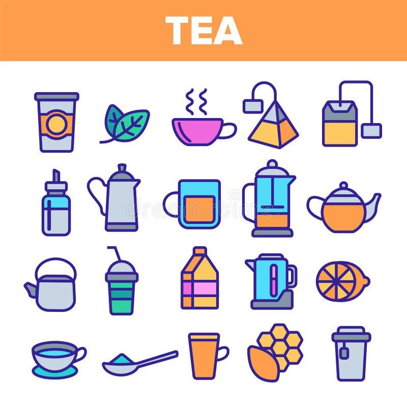 L?nea vector del t? del sistema del icono Dise?o de la etiqueta del restaurante Iconos de la bebida del t? Pictograma tradicional stock de ilustración