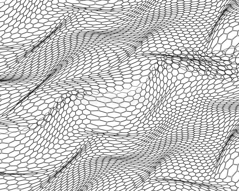 L?neas abstractas, ondas del estilo 3D del hex?gono en colores blancos y negros en blanco, plantilla del paisaje 3D, tecnolog?a d libre illustration