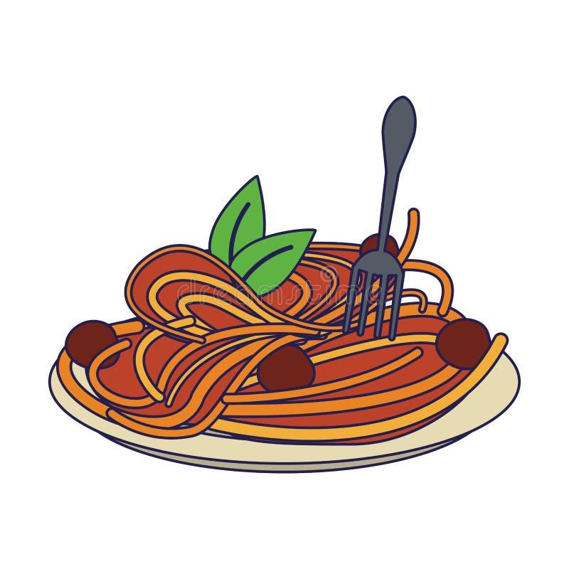 L?neas azules de la comida italiana de los espaguetis ilustración del vector