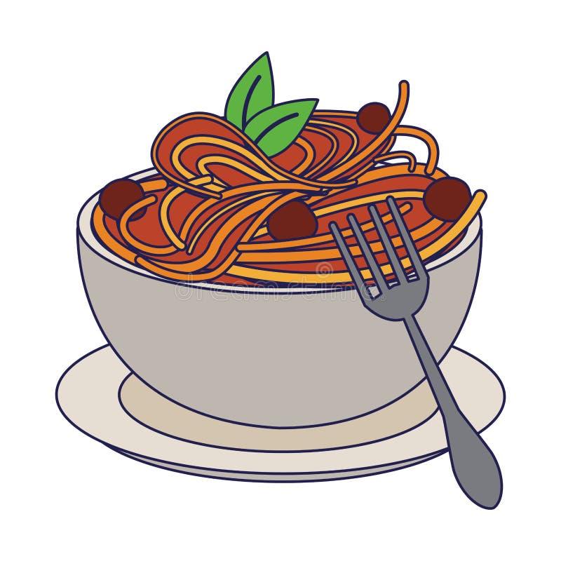 L?neas azules de la comida italiana de los espaguetis stock de ilustración