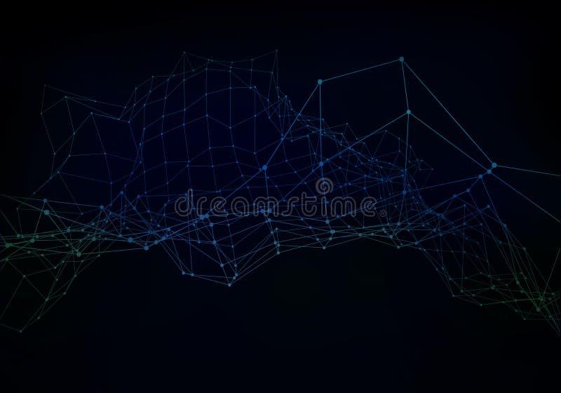 L?neas del plexo, puntos y haces luminosos con los puntos ligeros Fondo abstracto de la tecnolog?a, de la ciencia y de la ingenie fotografía de archivo libre de regalías