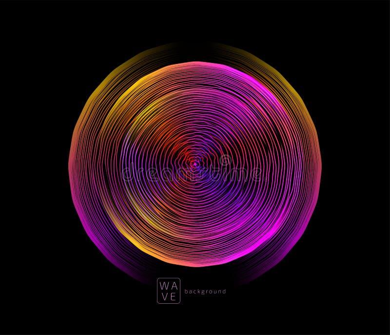 L?neas futuras digitales fondo de la onda del extracto del vector en forma del c?rculo Concepto sano de la m?sica de la tecnolog? ilustración del vector