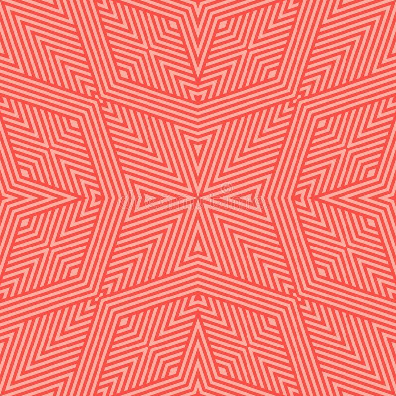 L?neas geom?tricas modelo incons?til del vector Fondo linear rojo y coralino brillante libre illustration