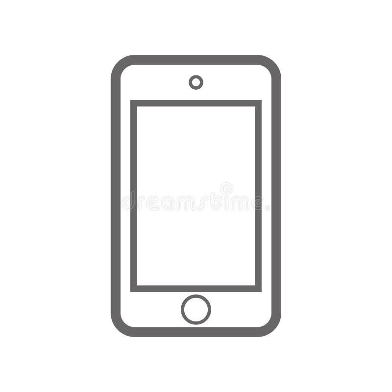 L?neas gordas tel?fono m?vil de la salida del smartphone gris del color con el bot?n de encendido y el vector vac?o eps10 de la v stock de ilustración