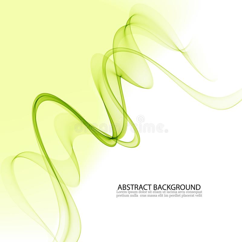 L?neas onduladas verdes abstractas Fondo colorido onda verde transparente del humo libre illustration