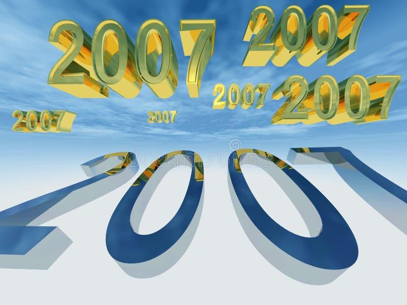 L'an neuf 2007 volent près illustration libre de droits