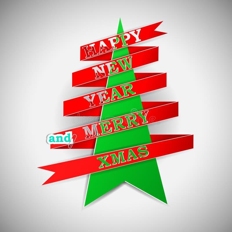 L'an neuf heureux et le joyeux Noël dirigent l'illustration illustration stock