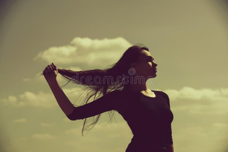 L?ng flickavisning, sunt, brunetth?r fotografering för bildbyråer