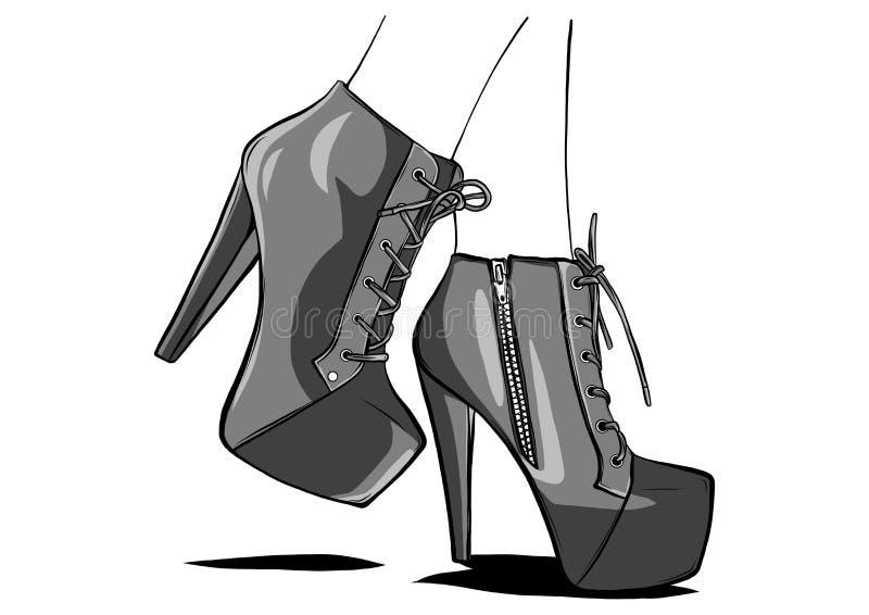 L?nga spensliga ben i ?tsittande byxa och h?g-heeled skor Mode, stil, kl?der och tillbeh?r ocks? vektor f?r coreldrawillustration royaltyfria bilder