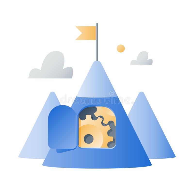 L?ngsiktig motivation, berg med kugghjul, tillv?xtmindset, aff?rsutmaningbegrepp, n?sta niv?, r?ckviddm?l, lagarbete royaltyfri illustrationer