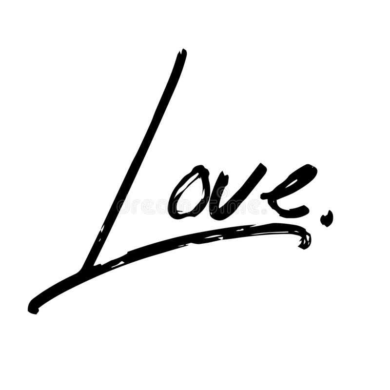 Love - Black Typographic Lettering stock illustration