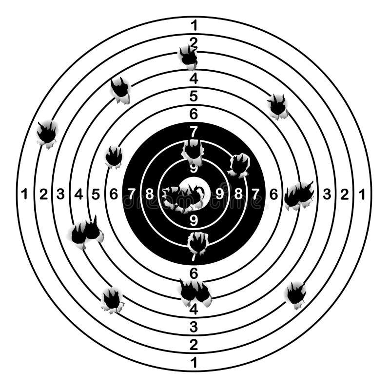 L'obiettivo della gamma di fucilazione ha sparato dei fori di pallottola, illustrazione di vettore royalty illustrazione gratis