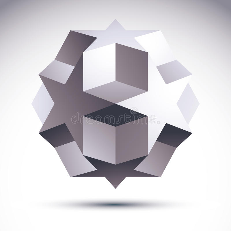 L'objet polygonal de l'origami 3D abstrait, dirigent l'EL de dessin géométrique illustration libre de droits