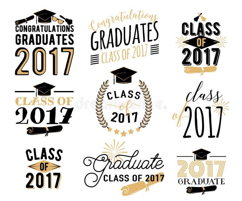 L'obtention du diplôme souhaite des recouvrements, ensemble de labels Rétro classe licenciée de 2017 insignes illustration libre de droits