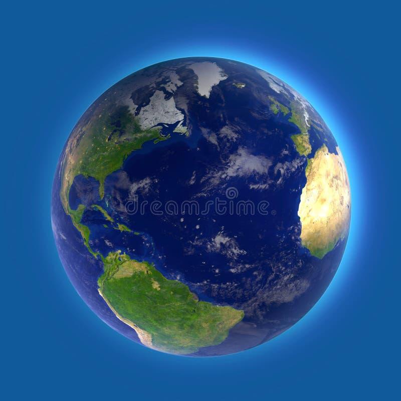 L'océan Atlantique nord, la carte de l'Amérique, de l'Afrique et de l'Europe illustration libre de droits