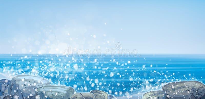 L'océan de vecteur lapide la plage illustration de vecteur