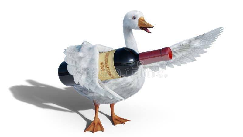 L'oca di St Martins giudica la bottiglia di vino isolata su 3D bianco- rende illustrazione di stock