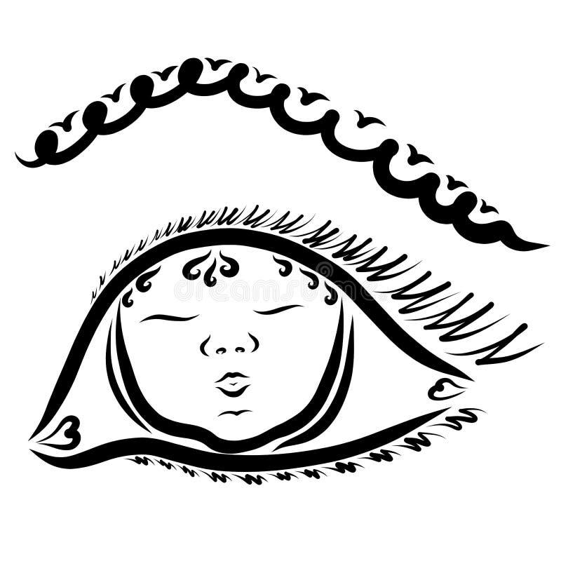 L'occhio ed il bambino femminili hanno riflesso nei suoi occhi royalty illustrazione gratis