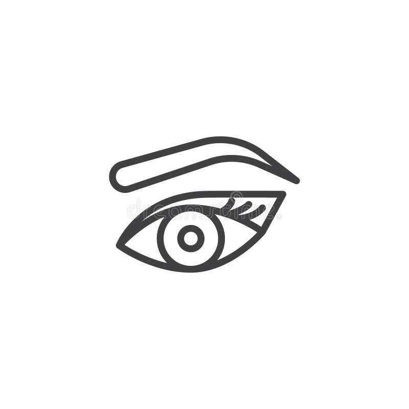 L'occhio, il sopracciglio ed i cigli del ` s della donna descrivono l'icona illustrazione vettoriale