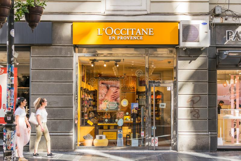 L ` Occitane Engelse de Provence opslag royalty-vrije stock afbeeldingen