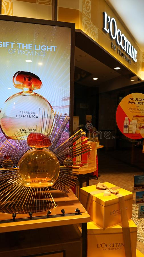 L`Occitane store entrance display. L`Occitane brand is an international retailer of body, face, fragrances and home products. Sydney, Australia - November 03 stock photo